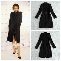 Fall  2013 Women Designer Fashion Celebrity Style Victoria Beckham Wool Coats Women Winter Coats Long Trench XXL  Free Shipping