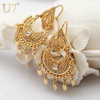 Indian Jewelry Dangle Earrings Party Gift Quality 18K Real Gold Plated Rhinestone Fashion Classic Drop Earrings For Women E3030