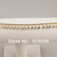 free shipping 1 yard 1cm wide sew on gold chain with clear crystal rhinestone tassel trims flatback for hats sandal accessory