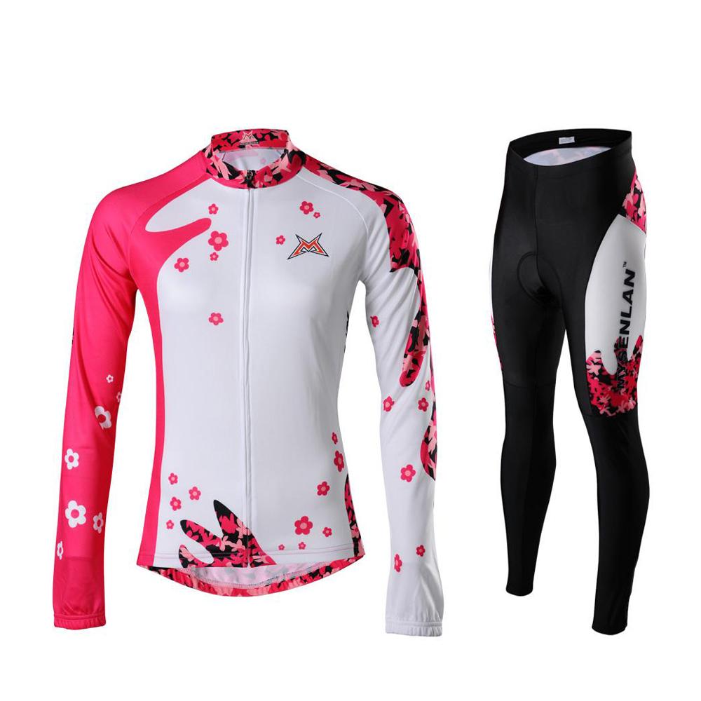 New 2014 Rusuoo cycling Jerseys women five petal flower long sleeve women's cycling clothing cycling thermal fleece1set(China (Mainland))