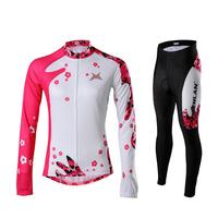 New 2014 Rusuoo cycling Jerseys women five petal flower long sleeve women's cycling clothing cycling thermal fleece1set