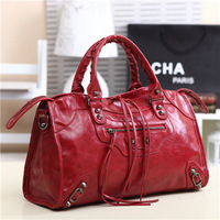 2013 Unique Design  Tassel Rivet Punk Motorcycle Bags Women Leather Handbags  Messenger Bag