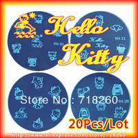 20Pcs/Lot The Stencil YH01-YH20 Platter Hello Kitty Nail Stamping Plates New 2013 Nail Art Diy Image Plate Steelseries Template