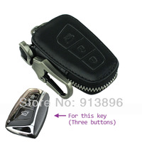 Leather car key case For Hyundai New Santa Fe IX45 2013 three buttons smart key Fob cover holder shell key rings wallet remote