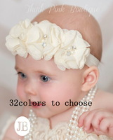 christmas headbands Bling Triple soft chiffon pearl diamond flower with a shimmer Headbands Baby Flower Headbands 30pcs