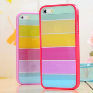 1pcs/lot Transparent Rainbow TPU Case Cover For iPhone 4 / 4S case China Shipping Free Shipping