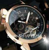 Free Shipping!2013 Fashion Tourbillon Skeleton Steel Roman Numerals Date/Week/Month Automatic Mechanical Watch Relogio Luxury