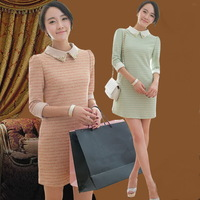 Free shipping 2013 autumn and winter small vintage elegant beading stripe knitted slim one-piece dress