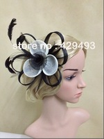 Free Shipping! hot fascinator and Double color mixing flower with feather on a clip and brooch.