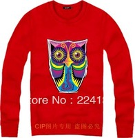 Free shipping 2013 fall new round neck women hip-hop camouflage owl sweatshirt men sweater coat
