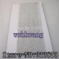 Free shipping 10Yard SS6 2mm B Grade AB Crystal glass Rhinestones Banding Trim Clear Plastic chain bottom Wedding dresses
