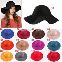 (13 Colors!!!)High Quality 2014 Fashion New Vintage Women Ladies Floppy Wide Brim Wool Felt Fedora Cloche Hat Cap Free Shipping