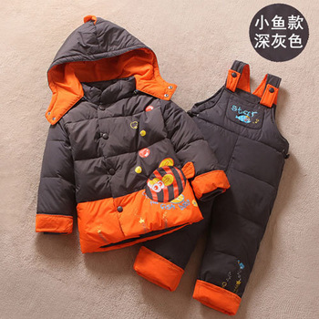 new2015 winter newborn baby boy girl down jacket clothes sets,high quality children coat+pants clothing sets suits,free shipping