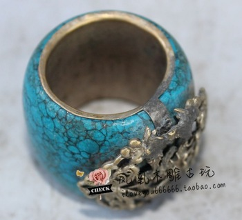 ORIENTAL VINTAGE CHINESE OLD MIAO TURQUOISE SILVER DRAGON INLAY  BEAUTIFUL RING