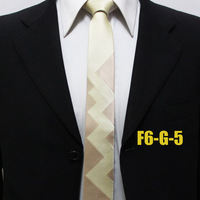 Unique Mens Geometric Ties For Man Skinny Novelty Light Yellow Handsome Neckties For Man Gravatas F6-G-5
