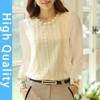 S-XXL 2014 autumn new women's chiffon shirt long sleeve lace shirt Slim was thin lace plus size top chiffon blouse fall 2014