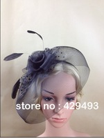 bridal hat Fascinator Hat  Hair headband with Feathers and Flower  , Free shipping