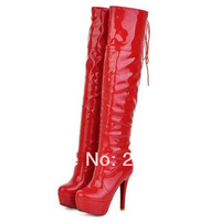 Over the knee boots for women fashion sexy black red white PU patent leather platform boots stiletto nightclubs size 33-43