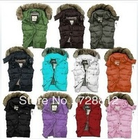 Free shipping 2012 Ladies down vest fur collar hooded warm goose down waistcoat for women