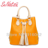 2013 Senatsu Retro Celebrity Street Snap Tote Leather Tassel Luxury Women Drawstring Bucket Bag Brand Design Seoul Style Handbag