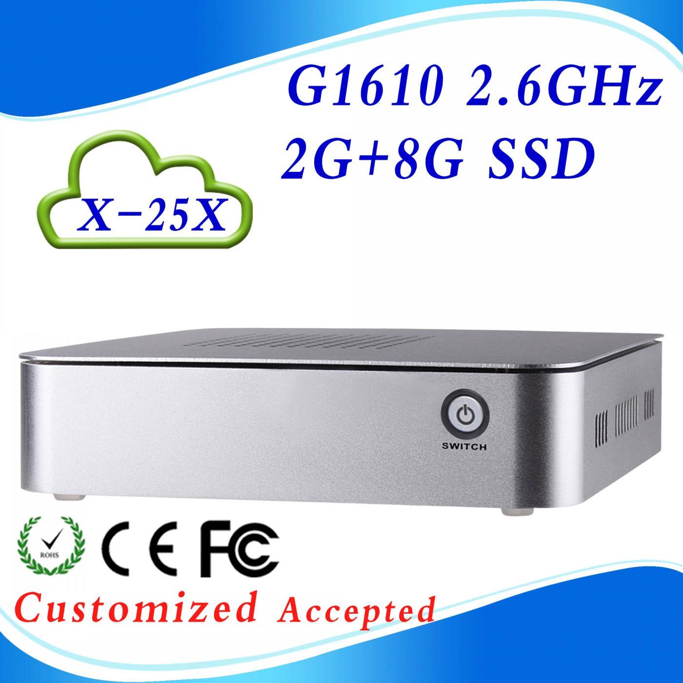 Hot sale INTE G1610 X-25X 2G RAM 8G SSD Virtual desktop computer Mini Virtual computer network ncomputing support movies(China (Mainland))