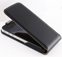 1pcs For iphone 5 5S Genuine Leather Case Cover Luxury Flip Real Leather Case Skin Cover Up and Down Free shipping