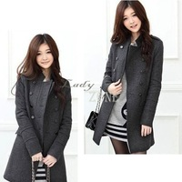 Winter New Korea cheap Slim Fit Women's Coat stand-up Collar Double-breasted Thicker Warm Wool Overcoat 3489