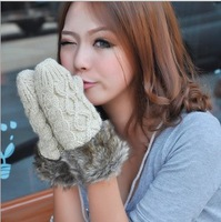thick warm fur women gloves twist neck hung winter woolen gloves free shipping ST6005