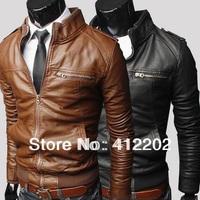 Free Shipping Fashion transverse zipper short slim Leather Men leisure washed locomotive collar PU high quality PY08