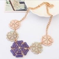 Geometric Shourouk Gem Gold Plated Shorts Choker Statement Necklaces & Pendants New 2014 Fashion Jewelry Women Wholesale T13
