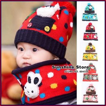 baby children's hats scarf set Christmas rabbit tree winter trechildren polka dot costume baby #2C2687  5 set/lot(5 colors)
