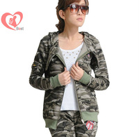 Women's army fans autumn/winter outdoor new fashion casual camouflage hoodie/sweater, free shipping