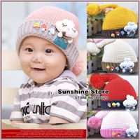 Sunshine store #2C2688  5 pcs/lot(5 colors)baby hat  winter big mushroom/rabbit toddler cap children knitted hat Long Tail CPAM