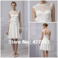 Hot Sale Scalloped Sheer Neck Lace Bridal Gown A-line Bowknot V-back Backless Knee Length Short Wedding Dress