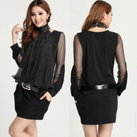 XL~4XL!! Autumn New Ladies Fashion Sexy Plus Size Turtlenck Chiffon Patchwork Faux Two Piece Sheer Long Sleeve Slim Dresses