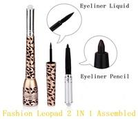 6pcs/Lot Fashion Leopad 2 IN 1 Assembled Eyeliner Waterproof Makeup Thick Black Cosmetic Pen # Eyeliner Liquid+Eyeliner Pencil