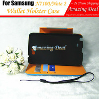 For Samsung N7100 Galaxy Note 2 Leather Case Book Style Cover with Stand & Credit Holder & String Wallet Holster Free Shipping
