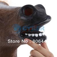 2Pcs/Lot Creepy Horse Mask Head Halloween Costume Theater Prop Novelty Latex Rubber 14989