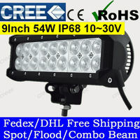 2pcs/lot 9 Inch 54W Cree LED Light Bar with Flood Spot Pencil Beam for 4WD 4x4 Offroad Jeep Truck Car Mining Boat LED Work Light