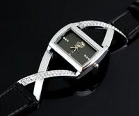 Free Shipping 5/pcs Square hot-selling black Quartz relogio Ladies Fashion Criss Cross leather Strap women rhinestone watches