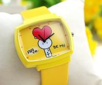 Free Shipping10pcs/lot wholesale  Yellow cute square cartoon children kids wristwatches leather band relojios 64376