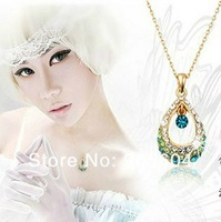 Korea Style Crysta Hollow Rhinestone Pendant Bead Drop Angel Tears Necklace
