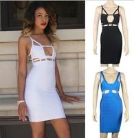 High Quality New 2014 Women Black White  Bandage Dress Mara Blue Celebrity Dresses Hole Designer Party Evening Prom Dress