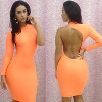 2013 New Fashion Autumn Sexy Women's Long Sleeve Bandage Dress Orange Neon Clubwear Dresses One shoulder Bodycon Dress LB5063