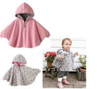 KNB autumn and winter baby jacket coat flower printed children outerwear with hooded cloak poncho mantle kids coat ACOAT026