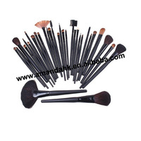 32 pcs Cosmetic Facial Make up Brush Kit Makeup brown hair  Brushes Tools Set + Black Leather Case