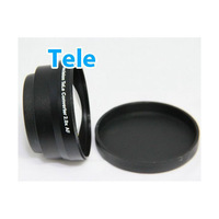 Black 55mm 2.0X TELE Telephoto Lens for Digital Camera + Front & Rear Cap