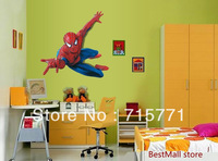 Removable wall sticker Spiderman wall stickers cute cartoon boy children's room bedroom wallpaper