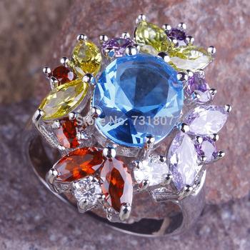 2014 Fancy Blue Topaz & Garnet &Tourmaline  Silver Ring Size 10 Stone Jewelry Stone For Women Wholeslae  Free Shipping
