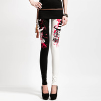 2013  New Arrival Woman Black and White Pants Women Leggings Punk Skull Splash-ink Pattern Free Size Free Shipping